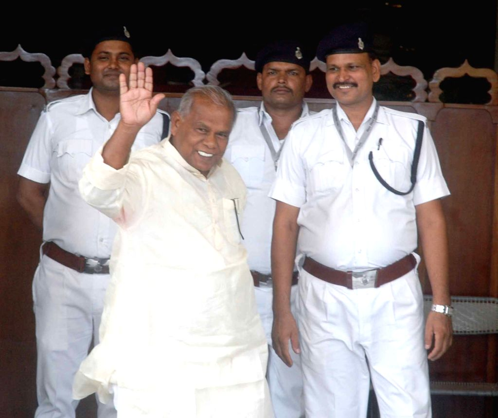 HAM leader Jitan Ram Manjhi arives at Bihar assembly to attend monsoon session in Patna, on Aug 3, 2016.