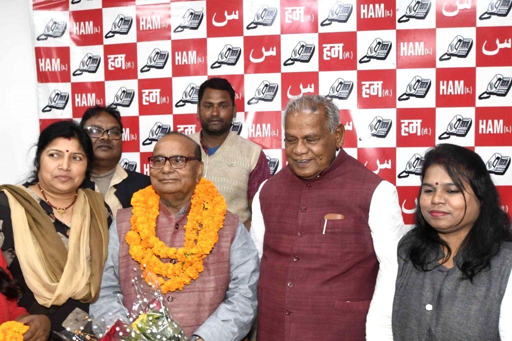 HAM leader Jitan Ram Manjhi during a party programme in Patna on Feb 22, 2019.