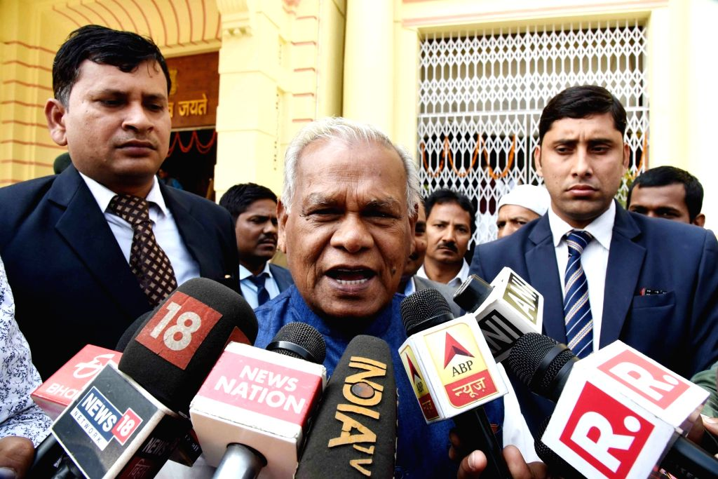 HAM leader Jitan Ram Manjhi talks to media persons in Patna, on Feb 13, 2019.