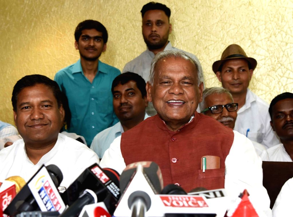 HAM-S chief Jitan Ram Manjhi addresses a press conference after chairing a meeting of the party's Parliamentary Board, in Patna on March 16, 2019.