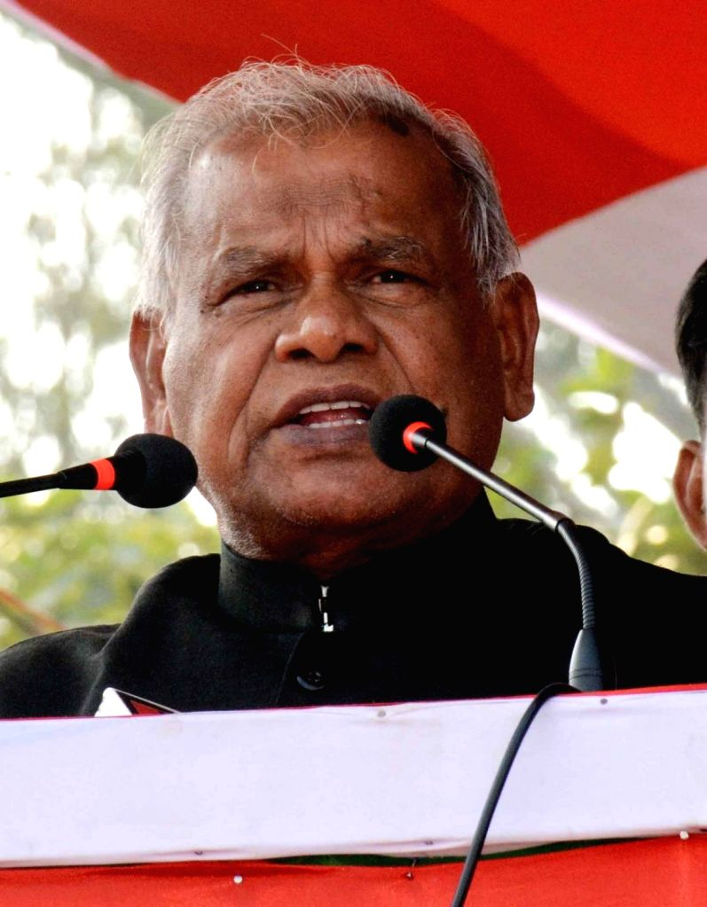 HAM-S chief Jitan Ram Manjhi addresses during CPI's 'BJP Bhagao, Desh Bachao' rally organised by CPI and CPI-ML in Patna, on Oct 25, 2018.