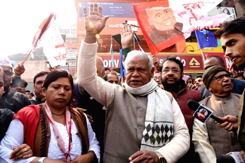 HAM-S chief Jitan Ram Manjhi participates in a demonstration during a Bharat Bandh called by the Bahujan Kranti Morcha (BKM) against the Citizenship (Amendment) Act (CAA), National Register of ...