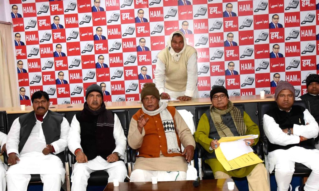 HAM-S chief Jitan Ram Manjhi presides over a party meeting in Patna on Jan 10, 2020.
