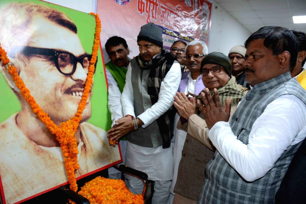 HAM-S leaders pay tributes to Former Bihar Chief Minister Late Karpoori Thakur on his birth anniversary, in Patna on Jan 24, 2020. - Late Karpoori Thakur