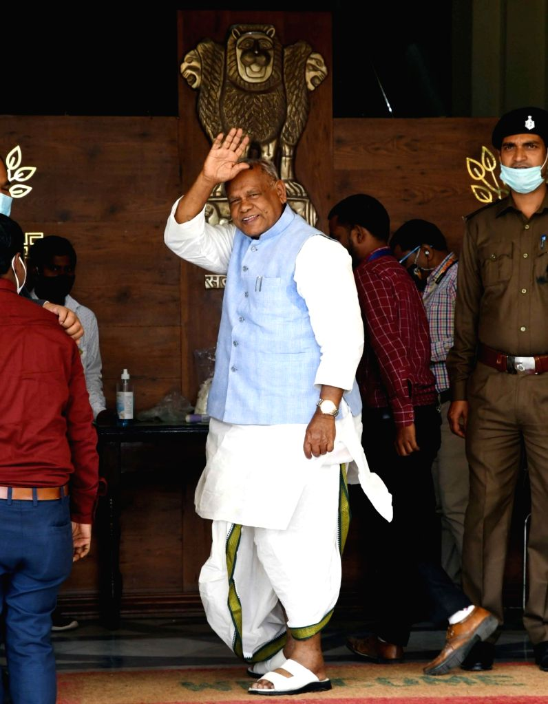 HAM-S president Jitan Ram Manjhi arrives during the ongoing Budget Session of Bihar Assembly in Patna on Tuesday 23rd February, 2021.
