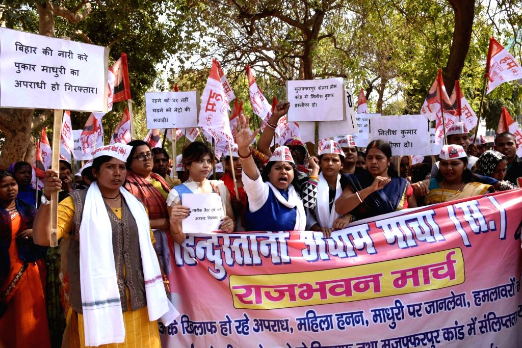 HAM women wing workers stage a demonstration against increase in crime in Bihar, in Patna on Feb 23, 2019.