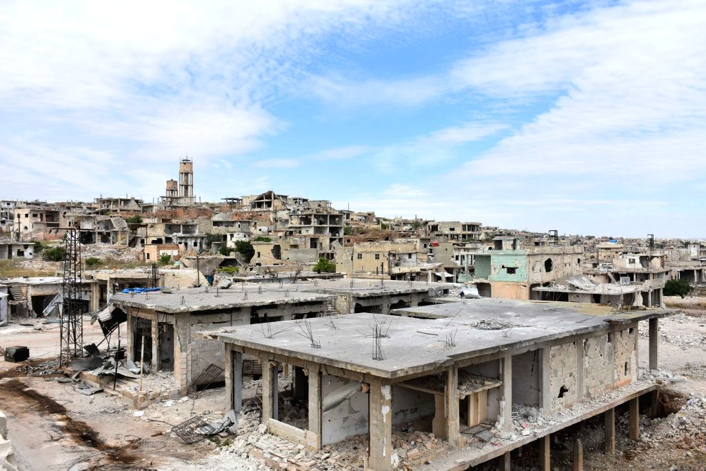 HAMA, May 12, 2019 - Destruction is seen in the northern countryside of Hama province in central Syria on May 11, 2019. The Syrian army has carried out strikes on the rebel's positions in the areas ...
