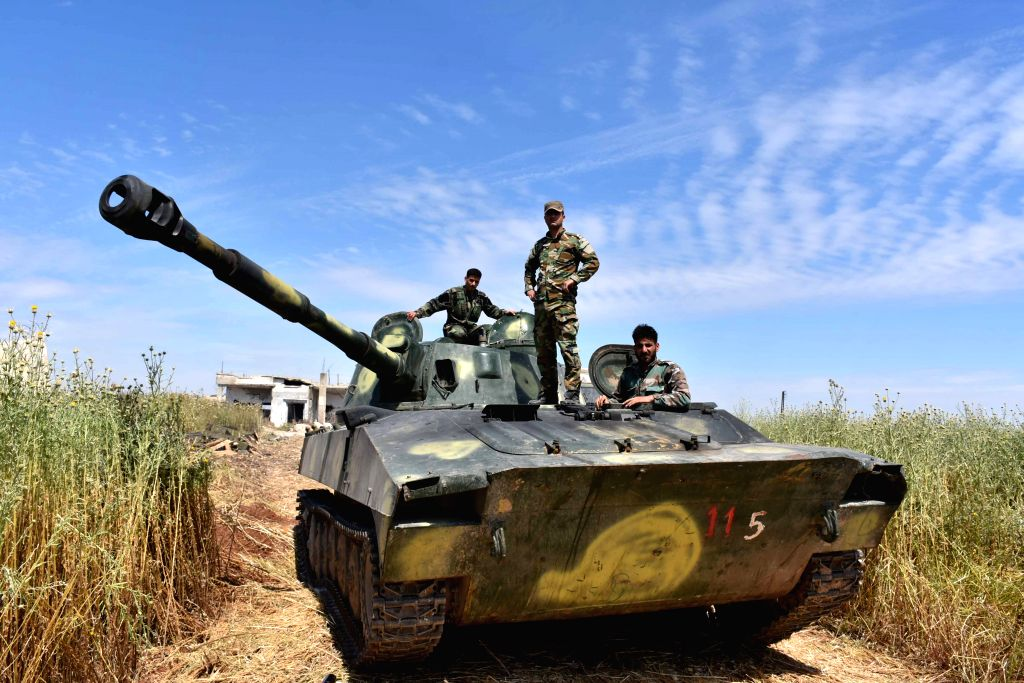 HAMA, May 12, 2019 - Syrian soldier are seen in the northern countryside of Hama province in central Syria on May 11, 2019. The Syrian army has carried out strikes on the rebel's positions in the ...