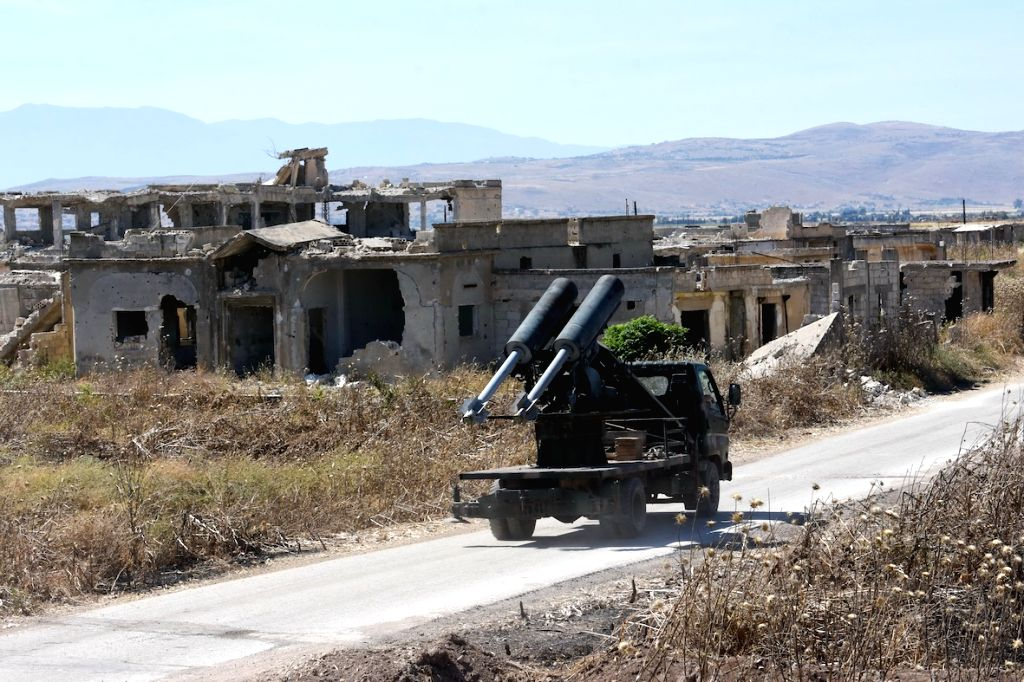 HAMA (SYRIA), May 26, 2019 A Syrian military vehicle is seen in the town of Kafr Nabudah in the northwestern countryside of Hama province in central Syria, on May 26, 2019. The Syrian ...