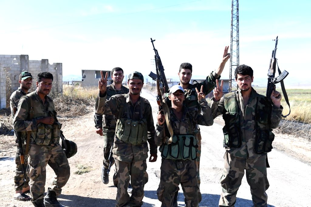 HAMA (SYRIA), May 26, 2019 Syrian soldiers are seen in the town of Kafr Nabudah in the northwestern countryside of Hama province in central Syria, on May 26, 2019. The Syrian Army on ...