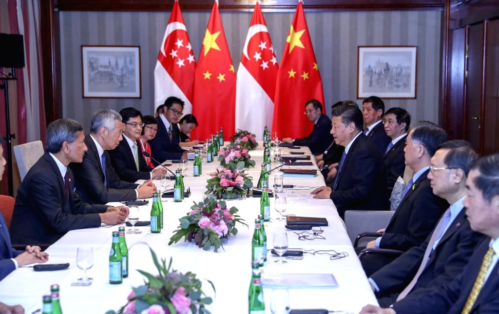HAMBURG, July 6, 2017 - Chinese President Xi Jinping meets with Singaporean Prime Minister Lee Hsien Loong in Hamburg, Germany, July 6, 2017. - Lee Hsien Loong