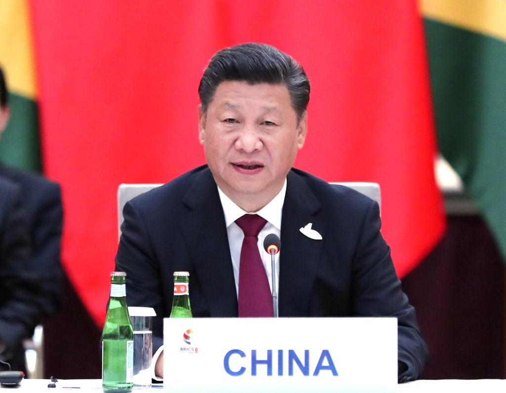 HAMBURG, July 7, 2017 - Chinese President Xi Jinping presides over an informal leaders' meeting of the emerging-market bloc, which groups Brazil, Russia, India, China and South Africa, in Hamburg, ...