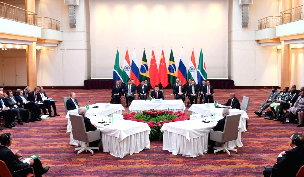 HAMBURG, July 7, 2017 - Chinese President Xi Jinping presides over an informal leaders' meeting of the emerging-market bloc, which groups Brazil, Russia, India, China and South Africa, in Hamburg, ... - Narendra Modi