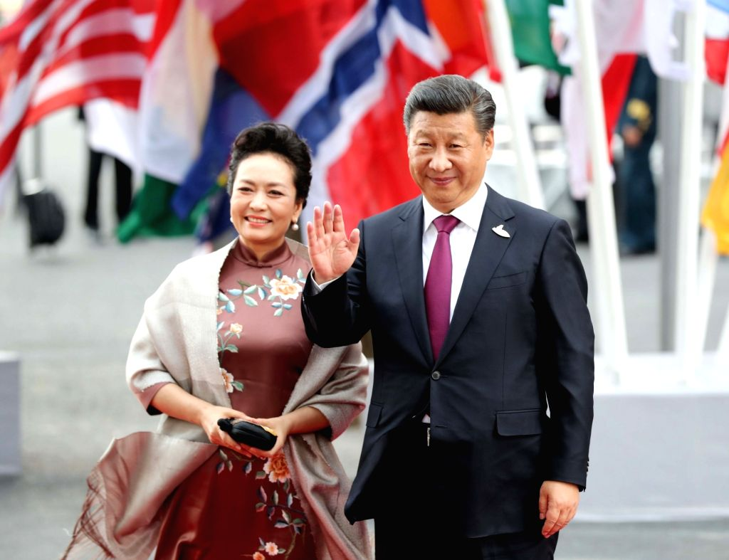 HAMBURG, July 7, 2017 - Chinese President Xi Jinping and his wife Peng Liyuan attend a concert of the 12th Summit of the Group of 20 (G20) major economies in Hamburg, Germany, July 7, 2017.