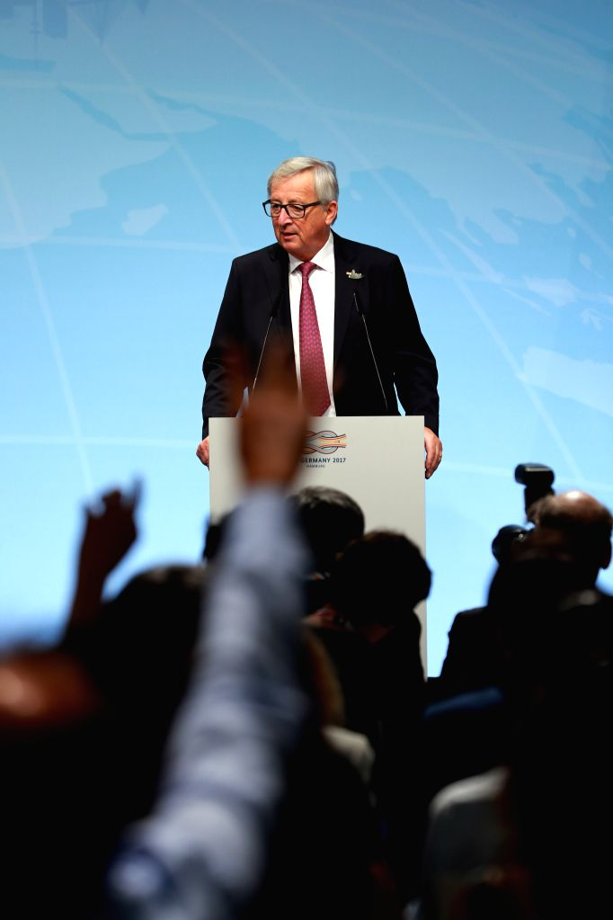HAMBURG, July 7, 2017 - European Commission President Jean-Claude Juncker attends a news briefing prior to G20 Summit in Hamburg, Germany, on July 7, 2017.