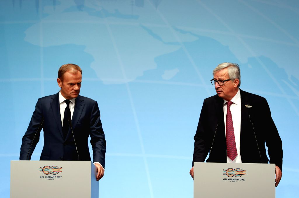 HAMBURG, July 7, 2017 - European Council President Donald Tusk (L) and European Commission President Jean-Claude Juncker attend a news briefing prior to G20 Summit in Hamburg, Germany, on July 7, ...