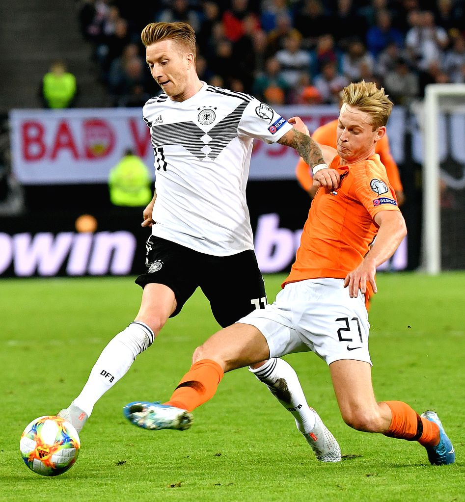 HAMBURG, Sept. 7, 2019 - Marco Reus (L) of Germany vies with Frenkie de Jong of Netherlands during the UEFA Euro 2020 Group C qualifying football match between Germany and the Netherlands in Hamburg, ...