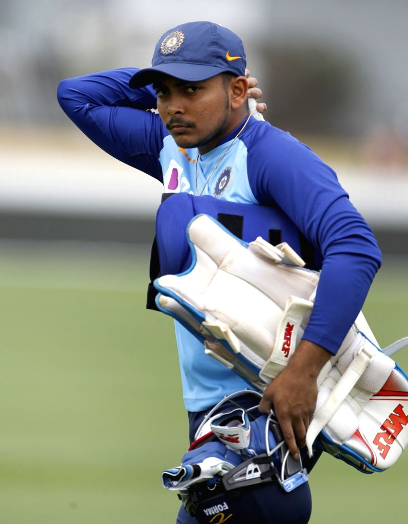 Hamilton: India's Prithvi Shaw during a practice session ahead of the 1st ODI against New Zealand at the Seddon Park in Hamilton, New Zealand on Feb 4, 2020. (Photo: IANS)