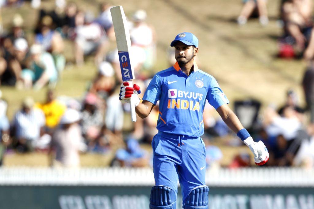 Hamilton: India's Shreyas Iyer celebrates his half century during the 1st ODI of the three-match series between India and New Zealand at the Seddon Park in Hamilton, New Zealand on Feb 5, 2020. (Photo: IANS)