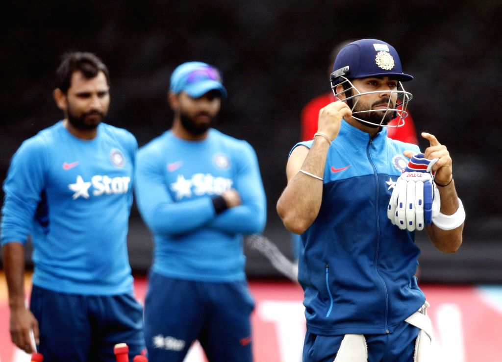 Indian cricketer Virat Kohli during a practice session ahead of an ICC World Cup - 2015 match against Ireland at the Seddon Park in Hamilton, New Zealand  on March 9, 2015. - Virat Kohli