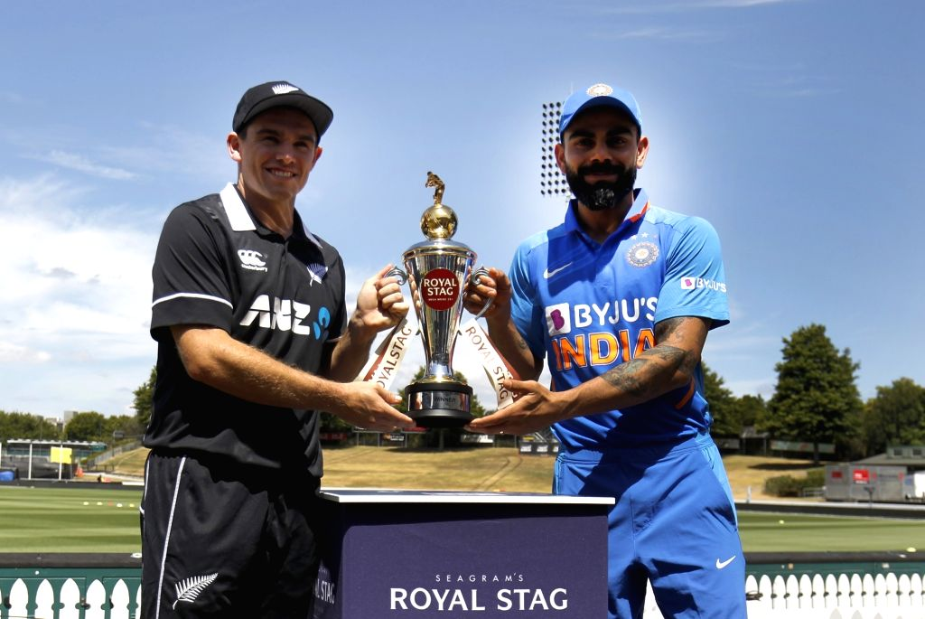 Hamilton: Indian skipper Virat Kohli and New Zealand captain Tom Latham pose with the ODI Trophy ahead of the 1st ODI between India and New Zealand at the Seddon Park in Hamilton, New Zealand on Feb 4, 2020. (Photo: IANS) - Tom Latham and Virat Kohli