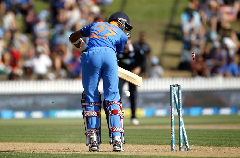 Hamilton (New Zealand) : India's Khaleel Ahmed looks on as he is bowled out by New Zealand's James Neesham (not in picture) during the 4th ODI cricket match between India and New Zealand played at ...