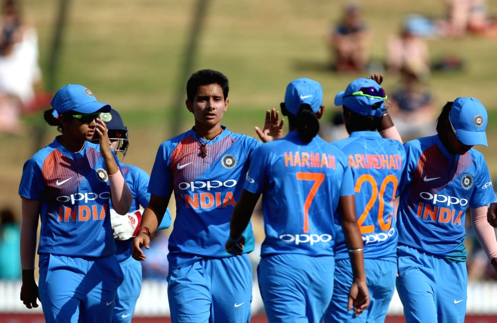Hamilton (New Zealand): India's Mansi Joshi celebrates fall of Sophie Devine's wicket during the third women's T20I match between India and New Zealand at Seddon Park in Hamilton, New Zealand on Feb ... - Joshi
