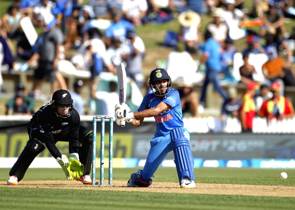 Hamilton (New Zealand) : India's Yuzvendra Chahal plays a shot during the 4th ODI cricket match between India and New Zealand played at Seddon Park, Hamilton, New Zealand on Jan. 31, 2019.