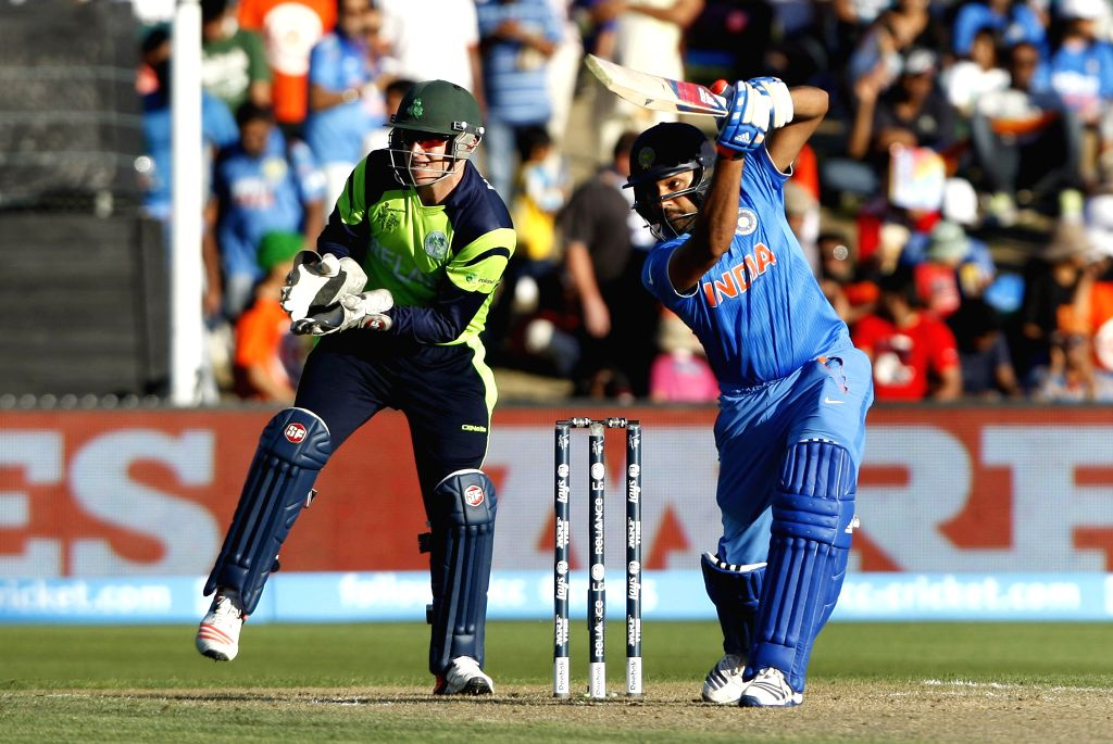 Hamilton (New Zealand): Indian batsman Rohit Sharma in action during an ICC World Cup - 2015 match against Ireland at the Seddon Park in Hamilton, New Zealand  on March 10, 2015. - Rohit Sharma