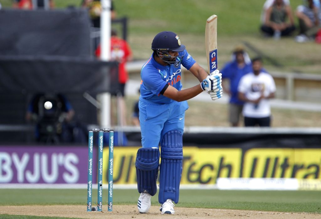 Hamilton (New Zealand) : Indian batsman Rohit Sharma plays a shot during the 4th ODI cricket match between India and New Zealand played at Seddon Park, Hamilton, New Zealand on Jan. 31, 2019. - Rohit Sharma