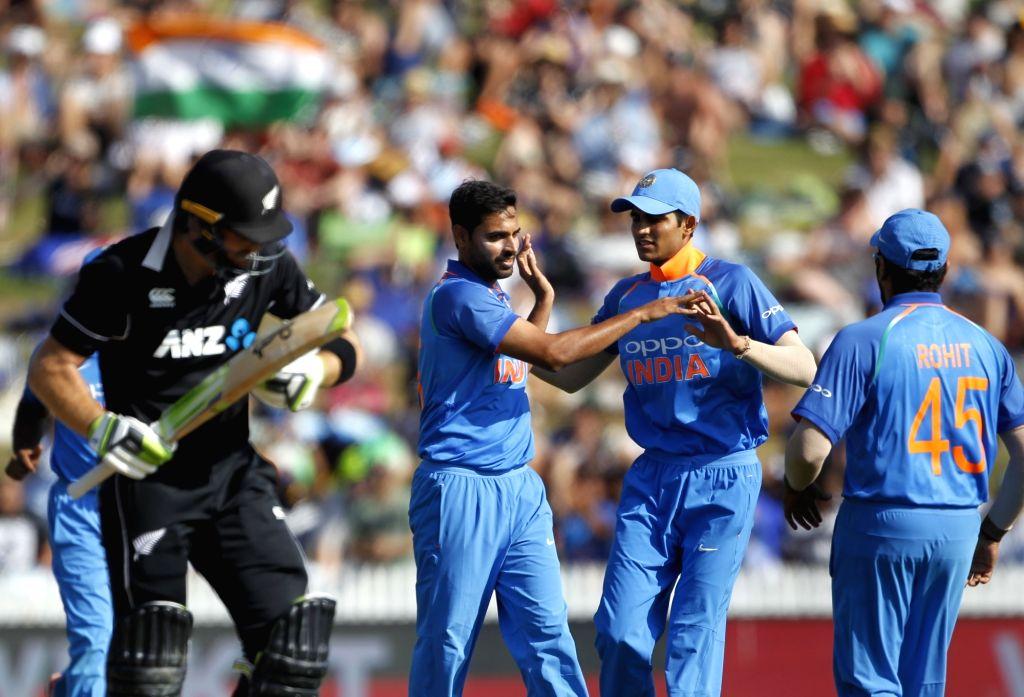 Hamilton (New Zealand) : Indian bowler Bhuvneshwar Kumar celebrates wicket of New Zealand batsman Martin Guptill during the 4th ODI cricket match between India and New Zealand played at Seddon Park, ... - Bhuvneshwar Kumar