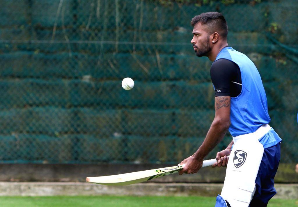 Hamilton (New Zealand): Indian cricketer Hardik Pandya during a practice session at Sadden Park, Hamilton, New Zealand on Jan. 30, 2019. (Photo: Surjeet Yadav/IANS) - Surjeet Yadav