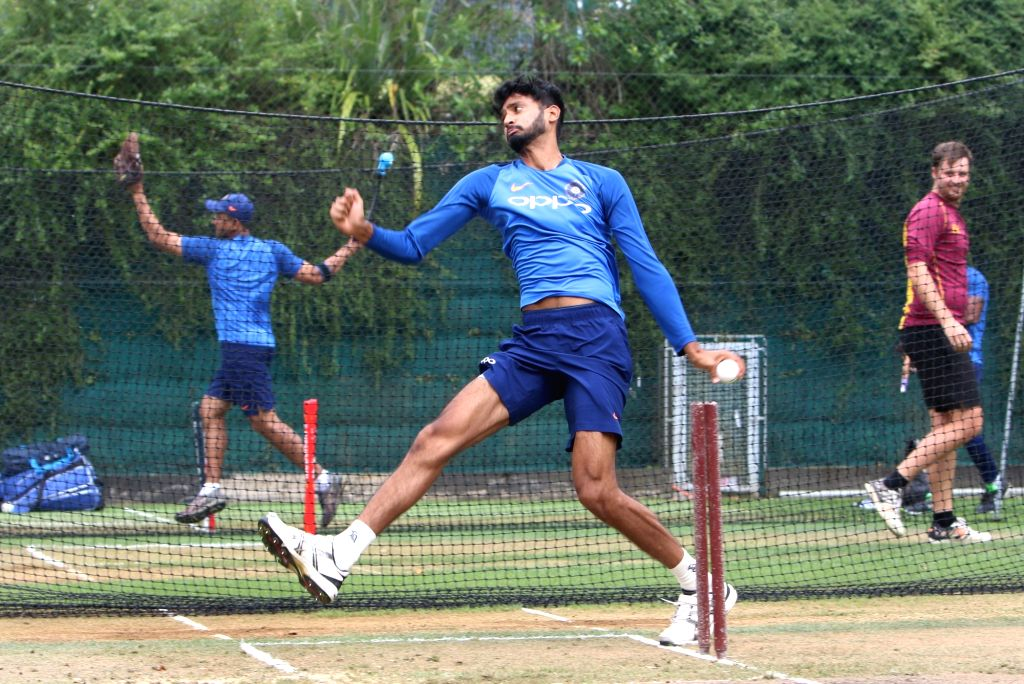 Hamilton (New Zealand): Indian cricketer Khaleel Ahmed during a practice session at Sadden Park, Hamilton, New Zealand on Jan. 30, 2019.