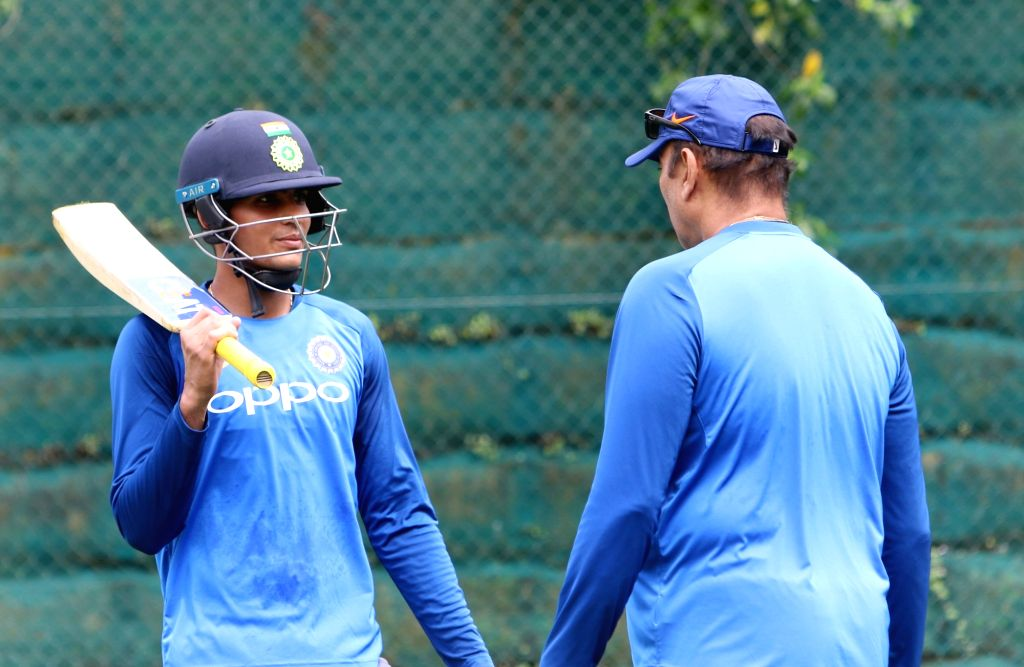 Hamilton (New Zealand): Indian cricketer Shubman Gill with Indian team head coach Ravi Shastri during a practice session at Sadden Park, Hamilton, New Zealand on Jan. 30, 2019.