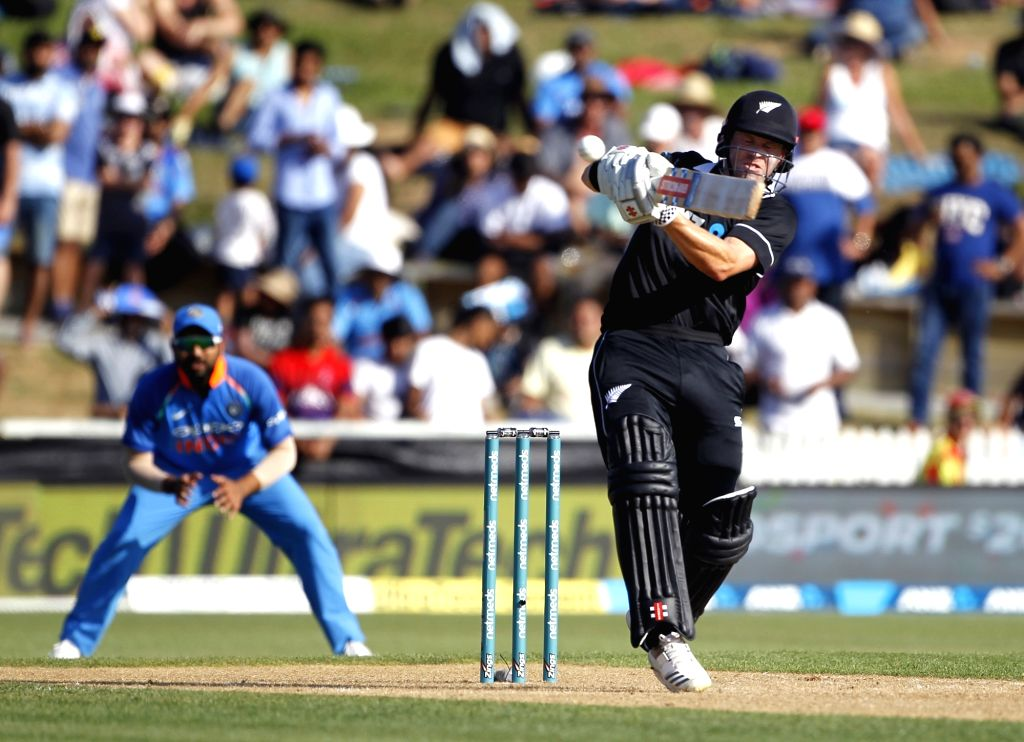 Hamilton (New Zealand) : New Zealand batsman Henry Nicholls plays a shot during the 4th ODI cricket match between India and New Zealand played at Seddon Park, Hamilton, New Zealand on Jan. 31, 2019. - Henry Nicholls