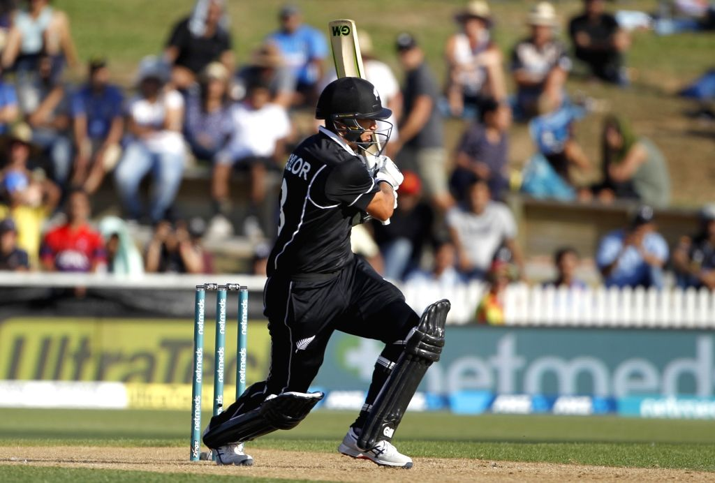 Hamilton (New Zealand) : New Zealand batsman Ross Taylor plays a shot during the 4th ODI cricket match between India and New Zealand played at Seddon Park, Hamilton, New Zealand on Jan. 31, 2019. - Ross Taylor