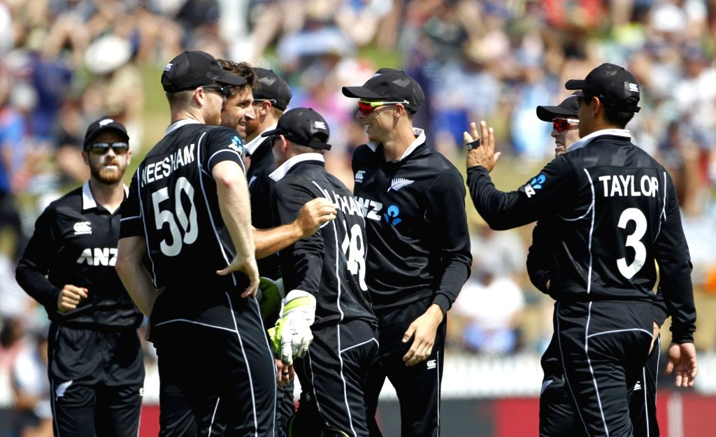 Hamilton (New Zealand) : New Zealand bowler Colin de Grandhomme celebrate the wicket of Indian batsman Ambati Rayudu with team during the 4th ODI cricket match between India and New Zealand played at ... - Colin