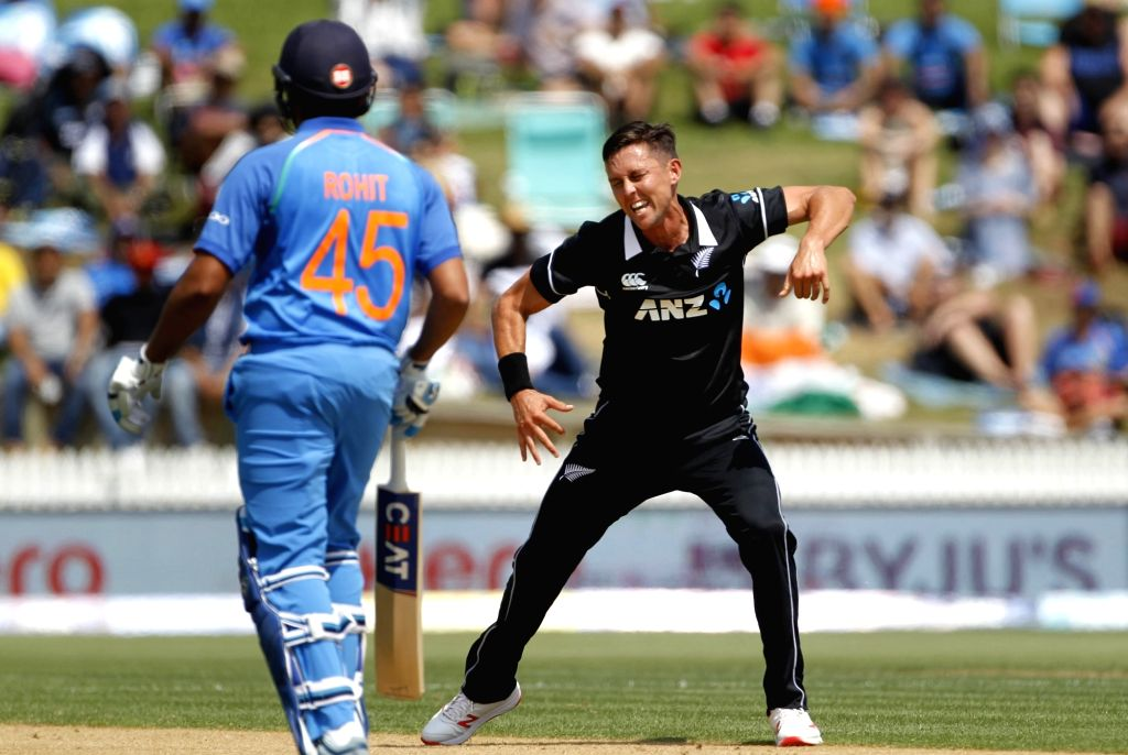Hamilton (New Zealand) : New Zealand bowler Trent Boult celebrates the wicket of Indian batsman Shikhar Dhawan during the 4th ODI cricket match between India and New Zealand played at Seddon Park, ... - Trent Boult and Shikhar Dhawan