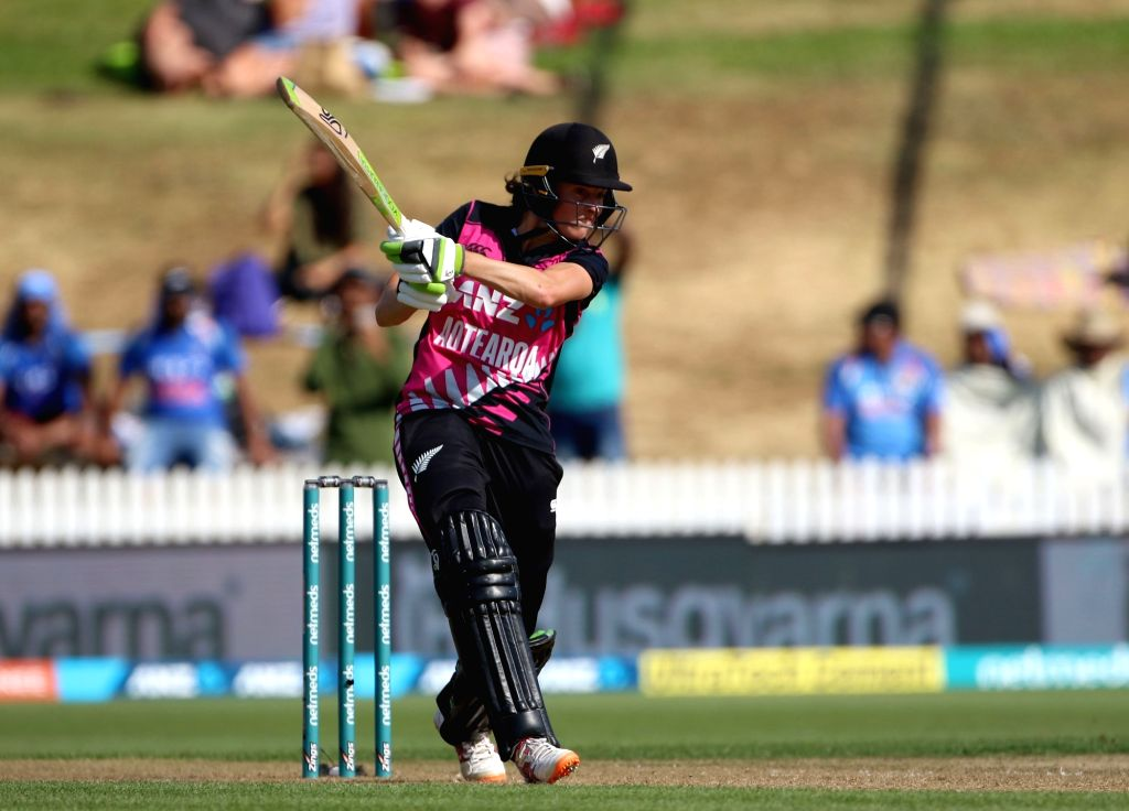 Hamilton (New Zealand): New Zealand's Amy Satterthwaite in action during the third women's T20I match between India and New Zealand at Seddon Park in Hamilton, New Zealand on Feb 10, 2019.