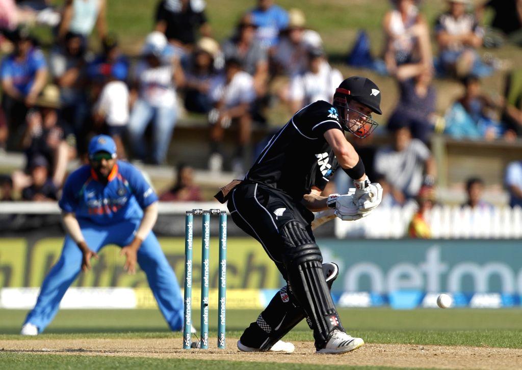 Hamilton (New Zealand) : New Zealand's Henry Nicholls in action during the 4th ODI cricket match between India and New Zealand at Seddon Park, Hamilton, New Zealand on Jan. 31, 2019.