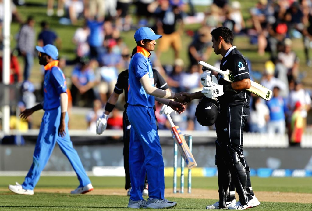 Hamilton (New Zealand) : New Zealand's Ross Taylor and Henry Nicholls  celebrate after winning the 4th ODI cricket match against India at Seddon Park, in Hamilton, New Zealand on Jan 31, 2019.