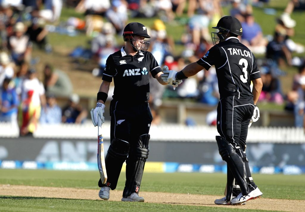 Hamilton (New Zealand) : New Zealand's Ross Taylor and Henry Nicholls  celebrate after winning the 4th ODI cricket match against India at Seddon Park, in Hamilton, New Zealand on Jan 31, 2019. (Photo: Surjeet Yadav/IANS) - Surjeet Yadav