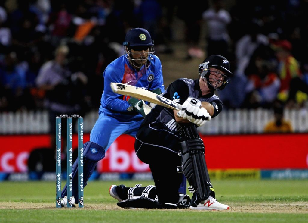 Hamilton: New Zealand's Colin Munro in action during the third T20I match between India and New Zealand at Seddon Park in Hamilton, New Zealand on Feb 10, 2019. (Photo: Surjeet Yadav/IANS) - Surjeet Yadav
