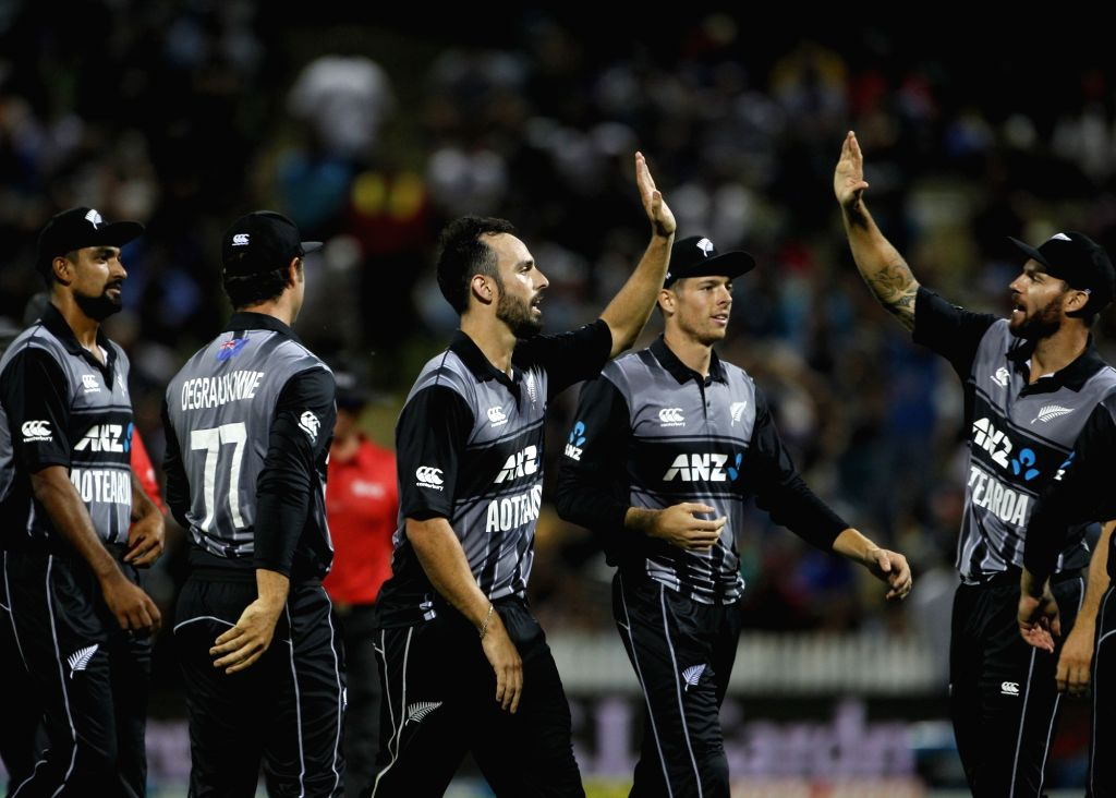 Hamilton: New Zealand's Daryl Mitchell celebrates fall of MS Dhoni's wicket during the third T20I match between India and New Zealand at Seddon Park in Hamilton, New Zealand on Feb 10, 2019. (Photo: Surjeet Yadav/IANS) - Surjeet Yadav