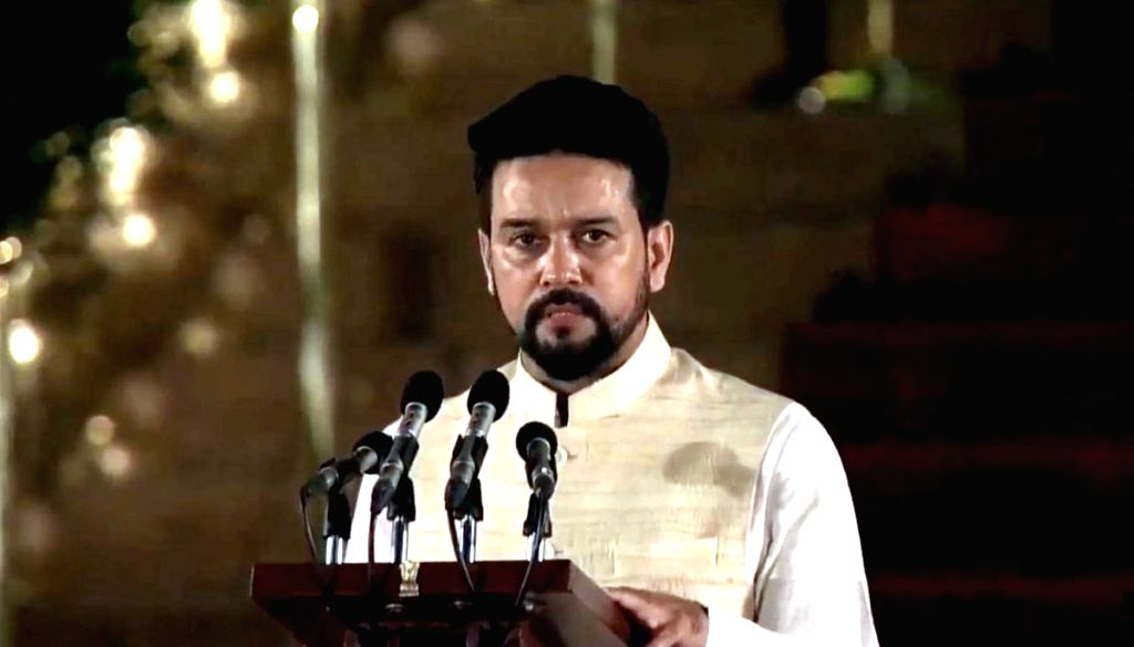Hamirpur BJP MP Anurag Thakur takes oath as Union Minister at a swearing-in ceremony at Rashtrapati Bhavan in New Delhi on May 30, 2019.