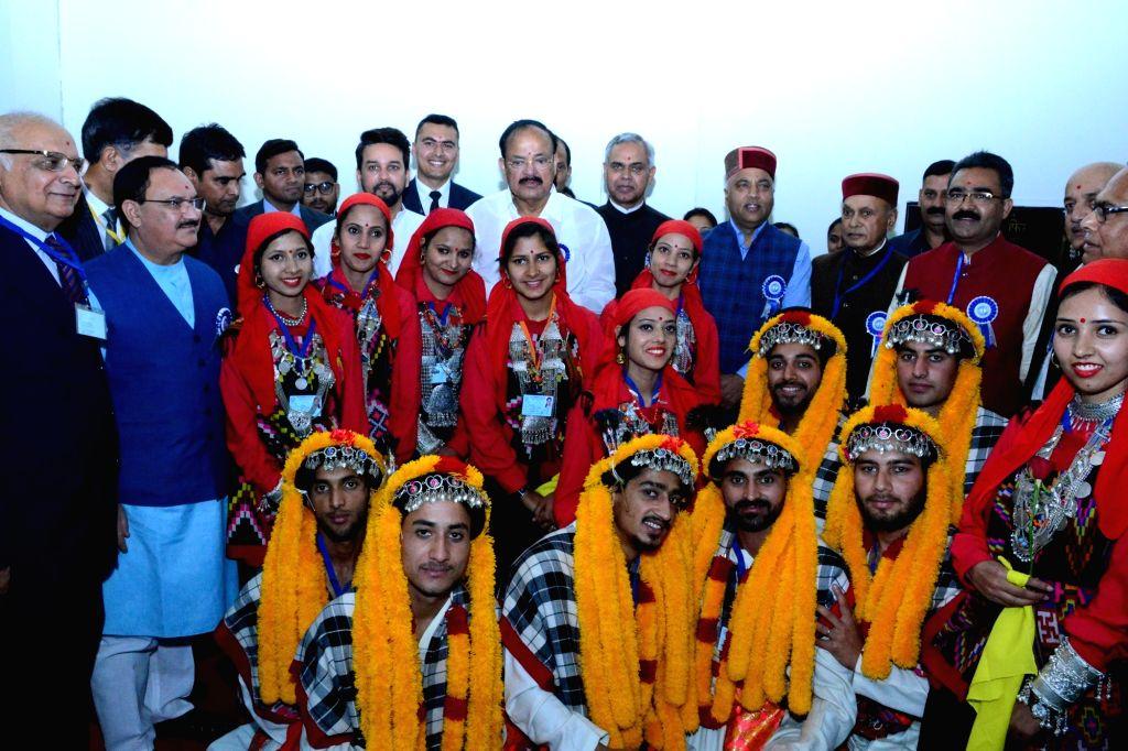 :Hamirpur: Vice President M. Venkaiah Naidu, Himachal Pradesh Governor Acharya Devvrat, Chief Minister Jai Ram Thakur, Union Minister J.P Nadda, BJP MP Anurag Thakur and other dignitaries during ...