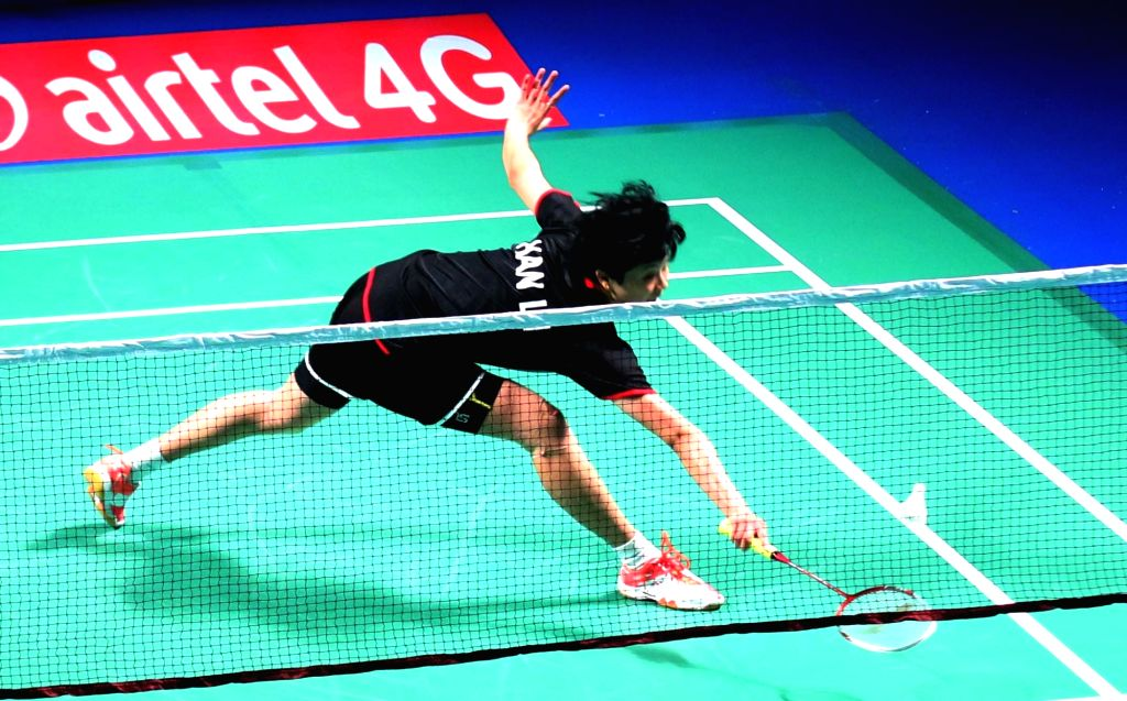 Han Li of Mumbai Rockets during Premier Badminton League final match against in New Delhi, on Jan 18, 2016. Mumbai Rockets won.