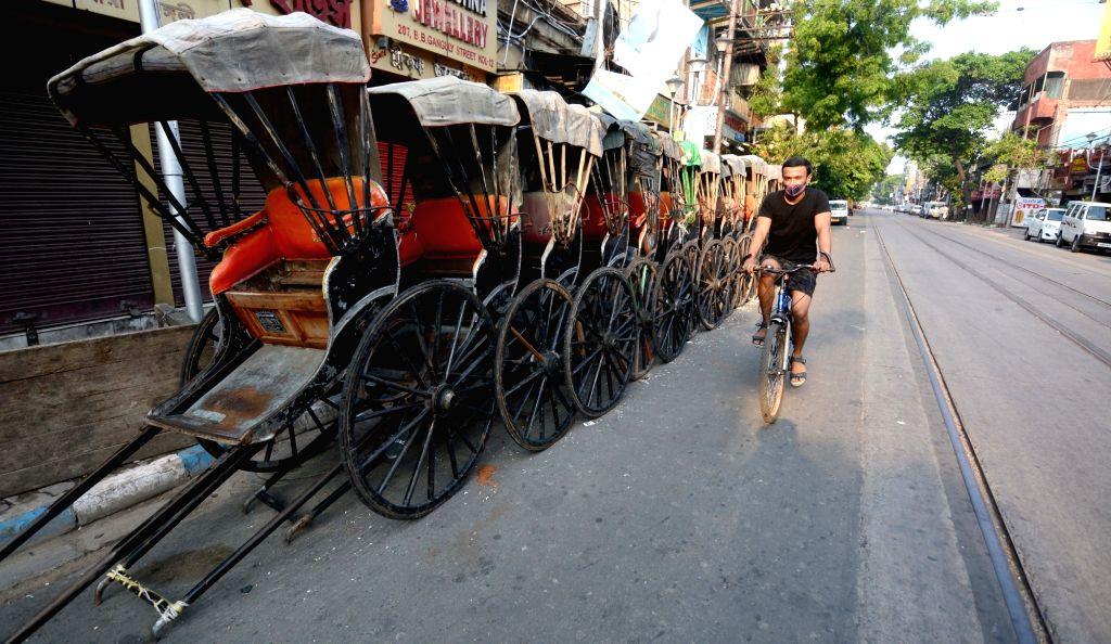 Hand rickshaw parked at the roadside during the lockdown on Coronavirus pandemic in Kolkata   23 May, 2021.