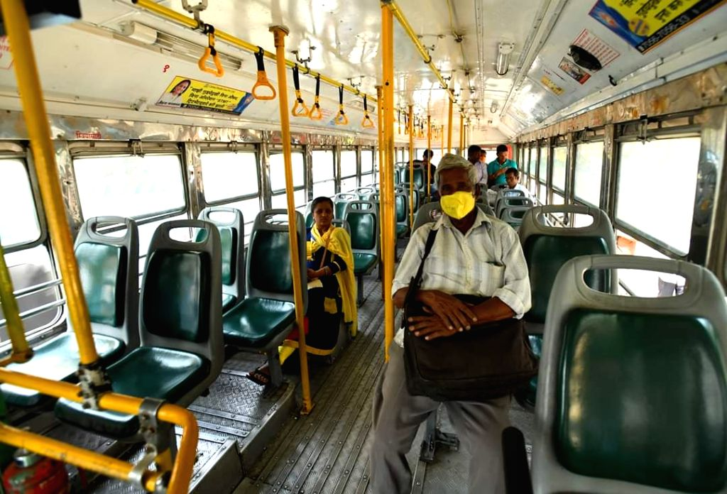 Handful of commuters seen in usually packed BEST buses in Mumbai amid COVID-19 (coronavirus), on 19 March, 2020.