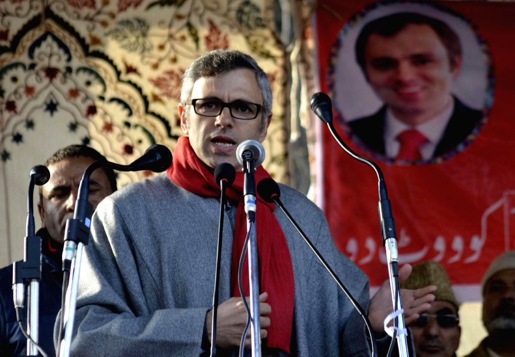 Jammu and Kashmir Chief Minister Omar Abdullah during a rally ahead of assembly elections in Handwara district of Jammu and Kashmir on Nov. 29, 2014.